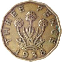 reverse of 3 Pence - George VI - With IND:IMP (1937 - 1948) coin with KM# 849 from United Kingdom. Inscription: THREE PENCE 1941