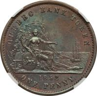 obverse of 1 Penny / 2 Sous - Quebec Bank Token (1852) coin with BR# 528 from Canadian provinces. Inscription: QUEBEC BANK TOKEN 1852 ONE PENNY