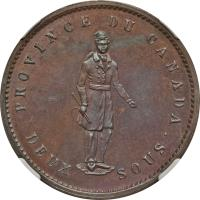 reverse of 1 Penny / 2 Sous - Quebec Bank Token (1852) coin with BR# 528 from Canadian provinces. Inscription: PROVINCE DU CANADA DEUX SOUS