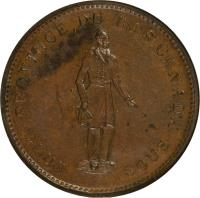 reverse of 1 Penny - MontReal Concordia Salus Bank Token; QUEBEC BANK (1837) coin with BR# 521 from Canadian provinces. Inscription: PROVINCE DU BAS CANADA. DEUX SOUS