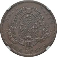 obverse of 1 Penny - MontReal Concordia Salus Bank Token; BANQUE DU PEUPLE (1837) coin with BR# 521 from Canadian provinces. Inscription: BANK TOKEN CONCORDIA SALUS BANQUE DU PEUPLE 1837 ONE PENNY.