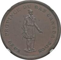 reverse of 1 Penny - MontReal Concordia Salus Bank Token; BANQUE DU PEUPLE (1837) coin with BR# 521 from Canadian provinces. Inscription: PROVINCE DU BAS CANADA. DEUX SOUS