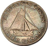 obverse of 1/2 Penny - Commercial Change Token (1820) coin with BR# 727 from Canadian provinces. Inscription: HALFPENNY TOKEN UPPER CANADA