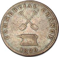 reverse of 1/2 Penny - Commercial Change Token (1820) coin with BR# 727 from Canadian provinces. Inscription: COMMERCIAL CHANGE 1820