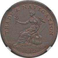 obverse of 1/2 Penny - Trade & Navigation Token (1812 - 1813) coin with BR# 963 from Canadian provinces. Inscription: TRADE & NAVIGATION 1812 H