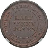 reverse of 1/2 Penny - Trade & Navigation Token (1812 - 1813) coin with BR# 963 from Canadian provinces. Inscription: PURE COPPER PREFERABLE TO PAPER HALF PENNY TOKEN