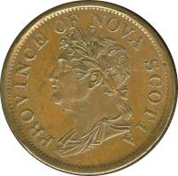 obverse of 1 Penny - George IV (1824 - 1832) coin with BR# 868 from Canadian provinces. Inscription: PROVINCE OF NOVA SCOTIA