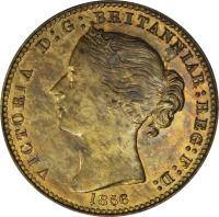 obverse of 1 Penny - Victoria (1856) coin with BR# 875 from Canadian provinces. Inscription: VICTORIA D:G: BRITANNIAR:REG:F:D: 1856