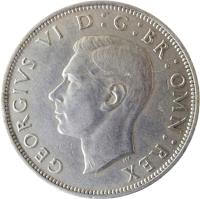 obverse of 1/2 Crown - George VI - With IND:IMP (1947 - 1948) coin with KM# 866 from United Kingdom. Inscription: GEORGIUS VI D: G: BR: OMN: REX