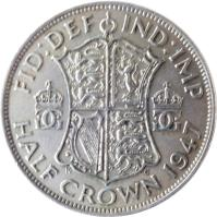 reverse of 1/2 Crown - George VI - With IND:IMP (1947 - 1948) coin with KM# 866 from United Kingdom. Inscription: FID:DEF IND:IMP GG GG K G HALF CROWN 1948