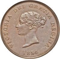 obverse of 1 Penny - Victoria (1854) coin with KM# 4 from Canadian provinces. Inscription: VICTORIA DEI GRATIA REGINA 1854