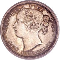 obverse of 20 Cents - Victoria (1862 - 1864) coin with KM# 9 from Canadian provinces. Inscription: VICTORIA D:G: REG: NEW BRUNSWICK