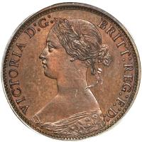 obverse of 1/2 Cent - Victoria (1861) coin with KM# 5 from Canadian provinces. Inscription: VICTORIA D:G: BRITT:REG:F:D:
