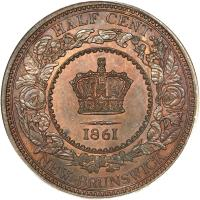 reverse of 1/2 Cent - Victoria (1861) coin with KM# 5 from Canadian provinces. Inscription: HALF CENT 1861 NEW BRUNSWICK