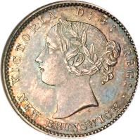 obverse of 10 Cents - Victoria (1862 - 1864) coin with KM# 8 from Canadian provinces. Inscription: VICTORIA D : G : REG : NEW BRUNSWICK ·