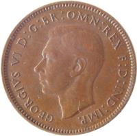 obverse of 1 Farthing - George VI - With IND:IMP (1937 - 1948) coin with KM# 843 from United Kingdom. Inscription: GEORGIVS VI D:G:BR:OMN:REX F:D:IND:IMP.