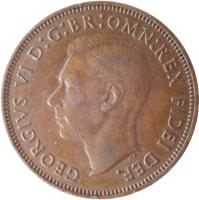 obverse of 1/2 Penny - George VI - Without IND:IMP (1949 - 1952) coin with KM# 868 from United Kingdom. Inscription: GEORGIVS VI D:G:BR:OMN:REX FIDEI DEF.