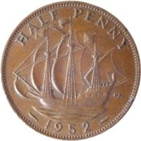 reverse of 1/2 Penny - George VI - Without IND:IMP (1949 - 1952) coin with KM# 868 from United Kingdom. Inscription: HALF PENNY HP 1952