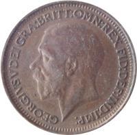 obverse of 1 Farthing - George V (1926 - 1936) coin with KM# 825 from United Kingdom. Inscription: GEORGIUS V DEI GRA:BRITT:OMN:REX FID:DEF:IND:IMP: BM