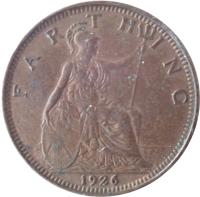 reverse of 1 Farthing - George V (1926 - 1936) coin with KM# 825 from United Kingdom. Inscription: F A R T H I N G 1926
