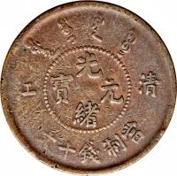 obverse of 10 Cash - Guangxu - CHING KIANG (1905) coin with Y# 77 from China. Inscription: 光   江 寶  元 清     緒  文十錢制當