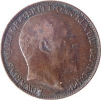 obverse of 1 Farthing - Edward VII (1902 - 1910) coin with KM# 792 from United Kingdom. Inscription: EDWARDVS VII DEI GRA:BRITT:OMN:REX FID:DEF:IND:IMP.