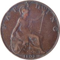 reverse of 1 Farthing - Edward VII (1902 - 1910) coin with KM# 792 from United Kingdom. Inscription: F A R T H I N G 1902