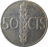 reverse of 50 Centimos - Francisco Franco (1966) coin with KM# 795 from Spain. Inscription: 50 CTS