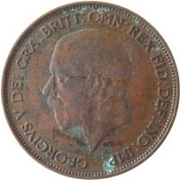 obverse of 1 Penny - George V - Smaller portrait (1928 - 1936) coin with KM# 838 from United Kingdom. Inscription: GEORGIUS V DEI GRA:BRITT:OMN:REX FID:DEF:IND:IMP: