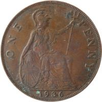 reverse of 1 Penny - George V - Smaller portrait (1928 - 1936) coin with KM# 838 from United Kingdom. Inscription: ONE PENNY 1936