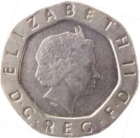 obverse of 20 Pence - Elizabeth II - 4'th Portrait (1998 - 2008) coin with KM# 990 from United Kingdom. Inscription: ELIZABETH II D · G · REG · F · D IRB