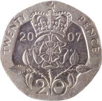 reverse of 20 Pence - Elizabeth II - 4'th Portrait (1998 - 2008) coin with KM# 990 from United Kingdom. Inscription: TWENTY PENCE 20 00 W G 20