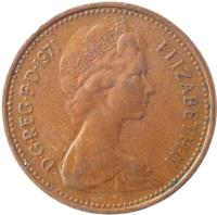 obverse of 1 New Penny - Elizabeth II - 2'nd Portrait (1971 - 1981) coin with KM# 915 from United Kingdom. Inscription: D · G · REG · F · D · 1971 ELIZABETH · II
