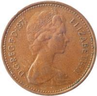 obverse of 1 New Penny - Elizabeth II - 2'nd Portrait (1971 - 1981) coin with KM# 915 from United Kingdom. Inscription: D · G · REG · F · D · 1971 ELIZABETH · II