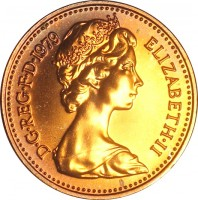 obverse of 1/2 New Penny - Elizabeth II - 2'nd Portrait (1971 - 1981) coin with KM# 914 from United Kingdom. Inscription: D · G · REG · F · D · 1975 ELIZABETH · II