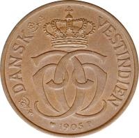obverse of 2 Cents / 10 Bit - Christian IX (1905) coin with KM# 76 from Danish West Indies.