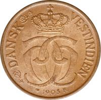 obverse of 1/2 Cent - Christian IX (1905) coin with KM# 74 from Danish West Indies. Inscription: DANSK VESTINDIEN 1905