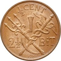 reverse of 1/2 Cent - Christian IX (1905) coin with KM# 74 from Danish West Indies. Inscription: 1/2 CENT 2 1/2 BiT