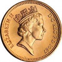 obverse of 1 Penny - Elizabeth II - Non magnetic; 3'rd Portrait (1985 - 1992) coin with KM# 935 from United Kingdom. Inscription: ELIZABETH II D · G · REG · F · D · 1989 RDM