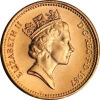 obverse of 1 Penny - Elizabeth II - Non magnetic; 3'rd Portrait (1985 - 1992) coin with KM# 935 from United Kingdom. Inscription: ELIZABETH II D · G · REG · F · D · 1989 RDM