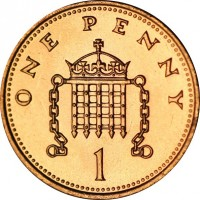 reverse of 1 Penny - Elizabeth II - Non magnetic; 3'rd Portrait (1985 - 1992) coin with KM# 935 from United Kingdom. Inscription: ONE PENNY 1