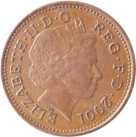 obverse of 1 Penny - Elizabeth II - Magnetic; 4'th Portrait (1998 - 2008) coin with KM# 986 from United Kingdom. Inscription: ELIZABETH · II · D · G REG · F · D · 2001 IRB