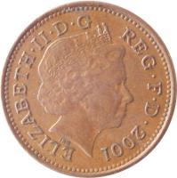 obverse of 1 Penny - Elizabeth II - Magnetic; 4'th Portrait (1998 - 2008) coin with KM# 986 from United Kingdom. Inscription: ELIZABETH · II · D · G REG · F · D · 2001 IRB