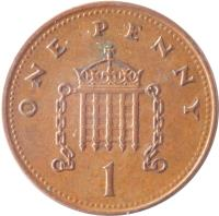reverse of 1 Penny - Elizabeth II - Magnetic; 4'th Portrait (1998 - 2008) coin with KM# 986 from United Kingdom. Inscription: ONE PENNY 1