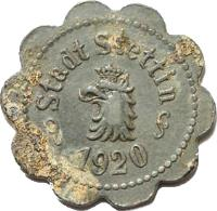 obverse of 10 Pfennig - Stettin (Pommern) (1920) coin with F# 522.5 from Germany. Inscription: Stadt Stettin 1920