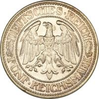 obverse of 5 Reichsmark (1927 - 1933) coin with KM# 56 from Germany. Inscription: DEUTSCHES · REICH FÜNF · REICHSMARK