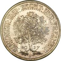 reverse of 5 Reichsmark (1927 - 1933) coin with KM# 56 from Germany. Inscription: · EINIGKEIT · UND · RECHT · UND · FREIHEIT · 19 27 F