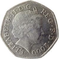 obverse of 50 Pence - Elizabeth II - 4'th Portrait (1998 - 2008) coin with KM# 991 from United Kingdom. Inscription: ELIZABETH · II · D · G REG · FD · 2001 IRB