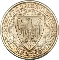 obverse of 3 Reichsmark - Bremerhaven (1927) coin with KM# 50 from Germany. Inscription: DEUTSCHES · REICH DREI · REICHSMARK