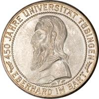 reverse of 5 Reichsmark - Tubingen University (1927) coin with KM# 55 from Germany.